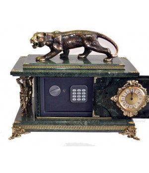 Часы-сейф из мрамора с тигром