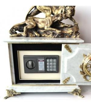Часы-сейф из белого мрамора с львами