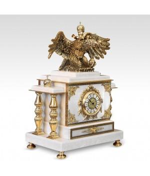 Часы-сейф из белого мрамора Двуглавый орел