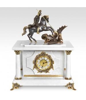 Часы-сейф Георгий - Победоносец (Белый мрамор)