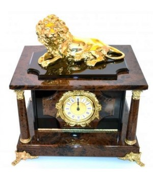 Часы-сейф из черно-рыжего обсидиана с львом