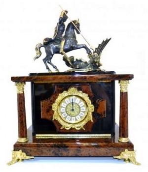 Часы-сейф из обсидиана Георгий-Победоносец