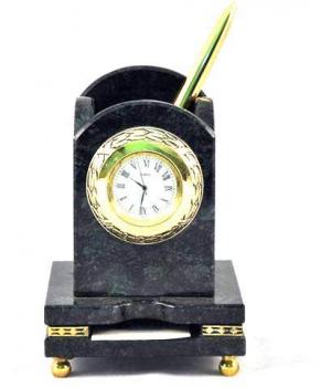 Карандашница с часами и визитницей из мрамора ММ 011