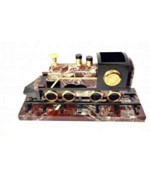 Поезд из яшмы с гербом России и с часами ПО-003