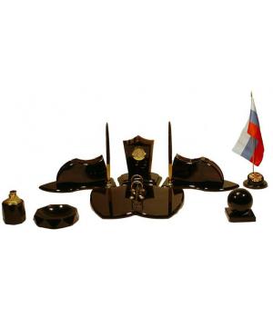 Настольный набор из обсидиана Геральдик ОБ 022
