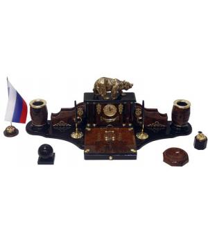 Настольный набор из обсидиана Медведь ОБ-003