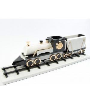 Поезд из черно-белого мрамора ПО-004