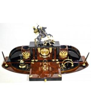Настольный набор из обсидиана Георгий победоносец ОБ 056