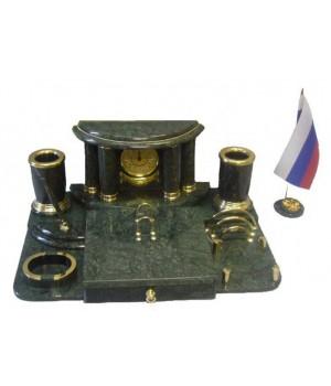 """Настольный набор из зеленого мрамора """"Классик"""" МБ 013"""