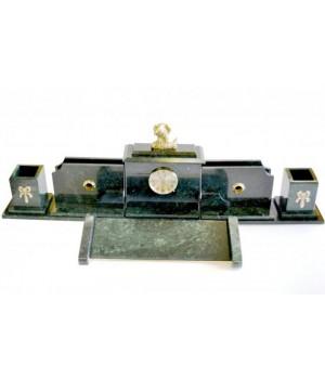 Настольный набор из зеленого мрамора