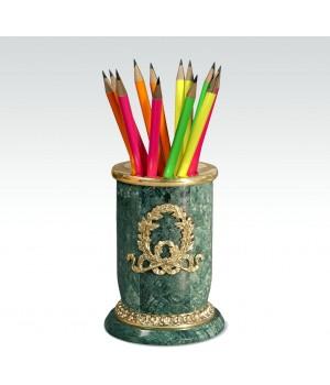 Карандашница Лавровый венок зеленый мрамор