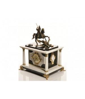Часы-сейф из черно-белого мрамора Георгий-Победоносец