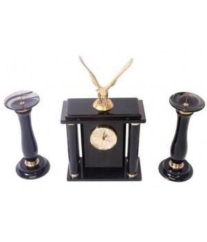 Часы настольные из черного обсидиана с орлом